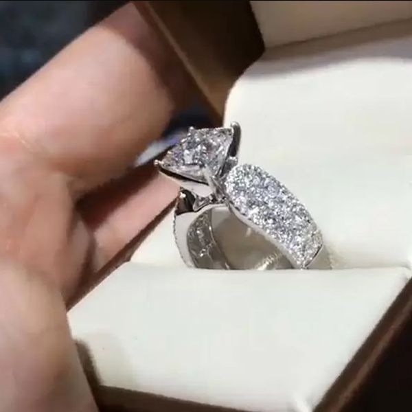 Geiana Jewelry Geiana Sterling Silver Classic Princess Cut Engagement Ring